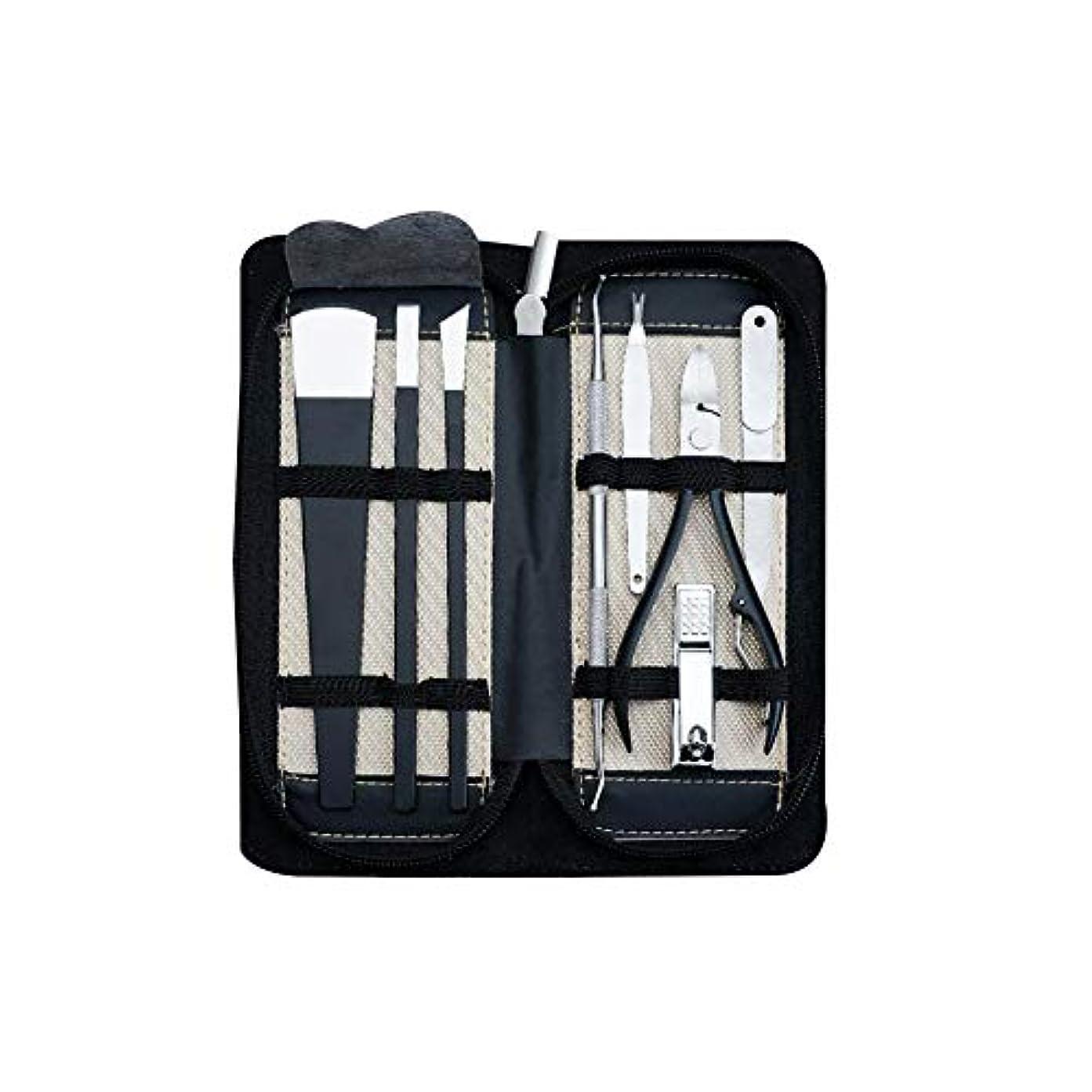 書き込み保持する筋肉のステンレス鋼ペディキュアキットマニキュアセットペディキュアナイフ専門のネイルケアツールキットツール8