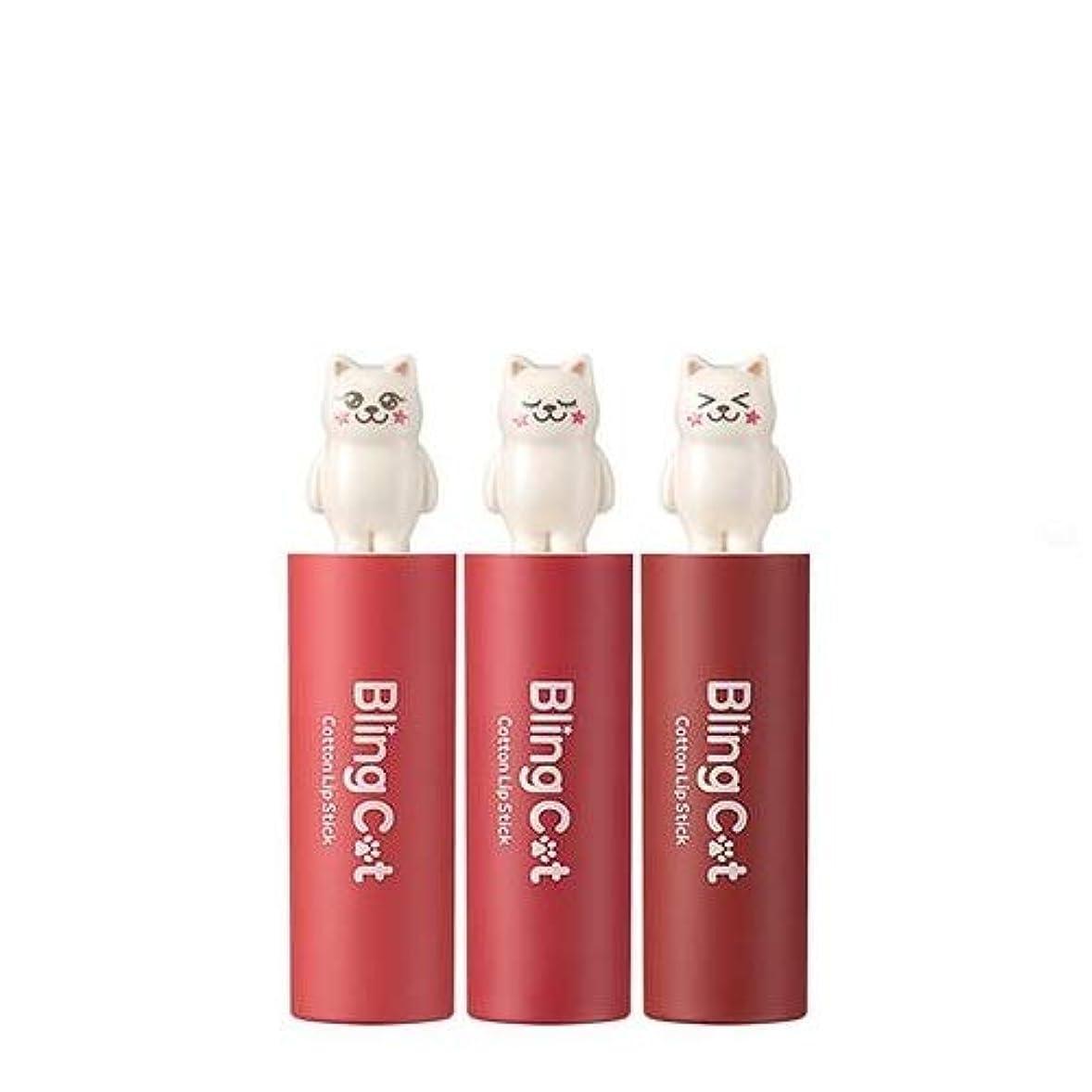 家族スロベニア行トニーモリー ブリングキャット コットン リップスティック 3.4g / TONYMOLY Bling Cat Cotton Lipstick # 04. Little Coral [並行輸入品]