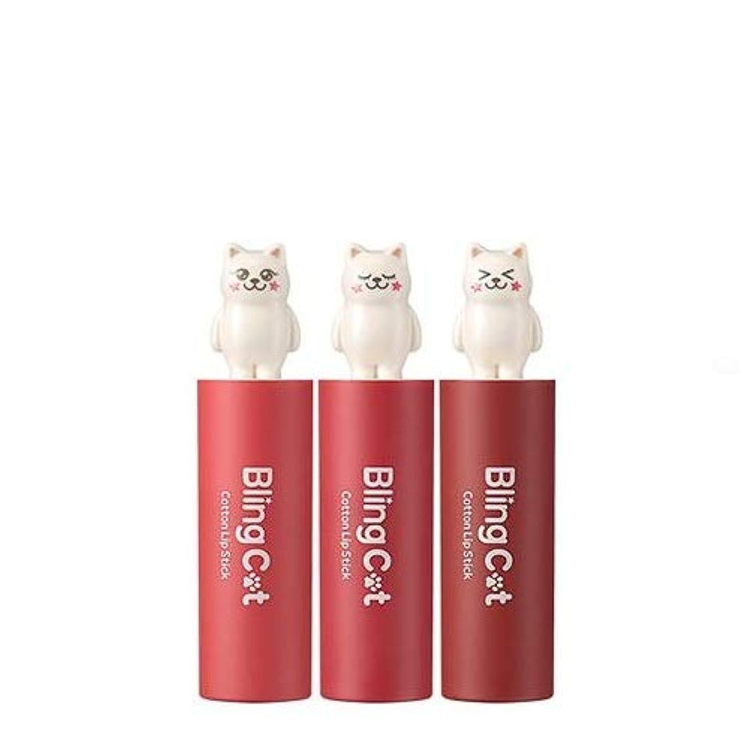 バレーボール絶え間ない存在するトニーモリー ブリングキャット コットン リップスティック 3.4g / TONYMOLY Bling Cat Cotton Lipstick # 02. Heroine Pink [並行輸入品]