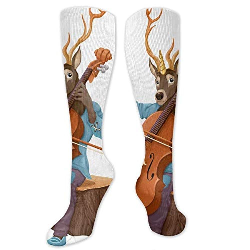 合法ホーム公然とQRRIYクリスマスソックス面白い音楽鹿は、チェロを滑ります