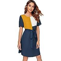 Milumia Women V Neck Self Tie Waist Belted Button Up Short Sleeve Short Tunic Shirt Dress