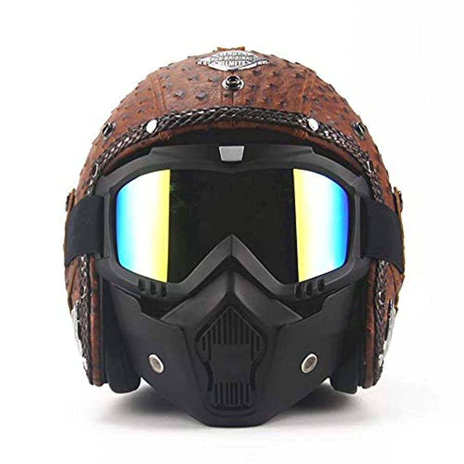 切断するロータリー泥だらけSafety 手作りオートバイレトロヘルメット機関車マスクナイト機器保護ギア革人格ヘルメット (Size : XL)