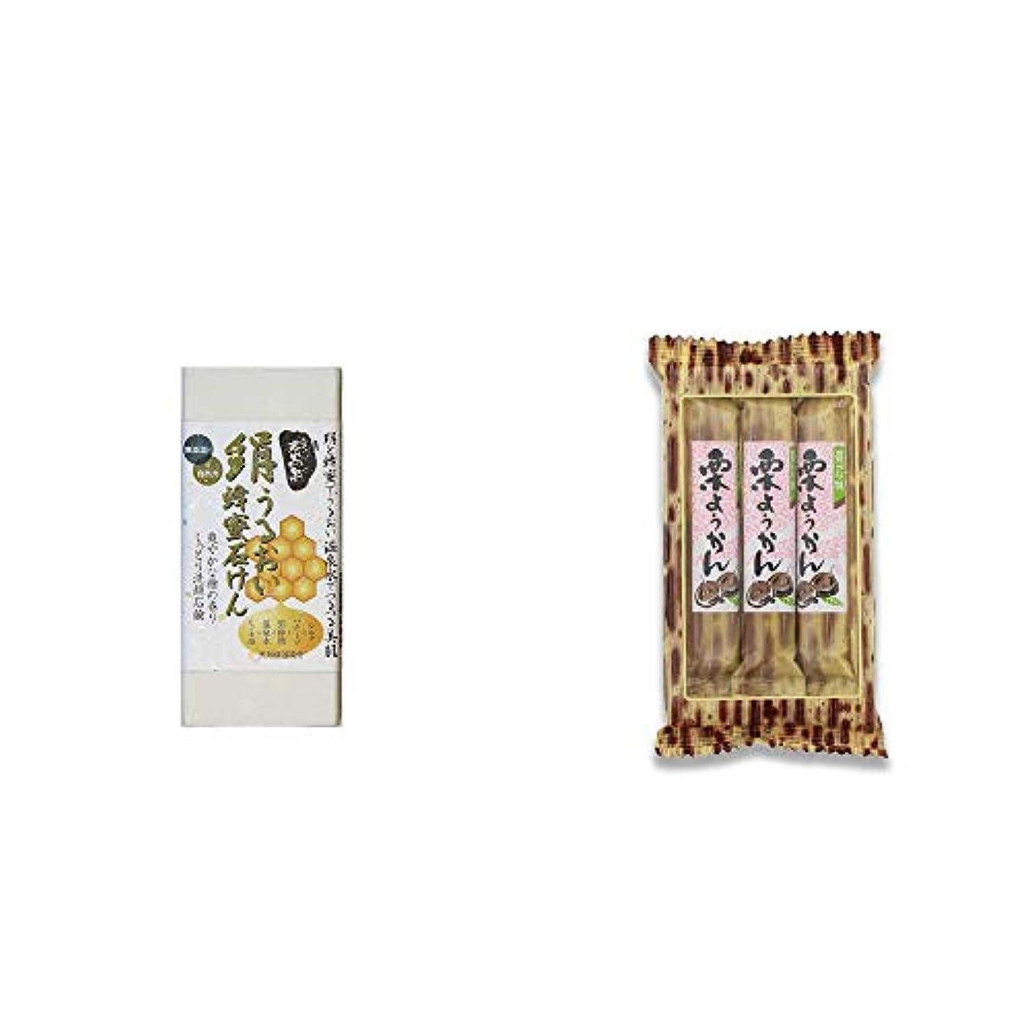翻訳チャップ考案する[2点セット] ひのき炭黒泉 絹うるおい蜂蜜石けん(75g×2)?スティックようかん[栗](50g×3本)