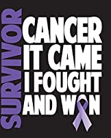 """Survivor Cancer It Came I Fought And Won: Pancreatic Awareness Half and Half Paper Blank College Ruled Notes Sketch Math Story Writing Prompts 7.5"""" x 9.25"""" 100pg"""