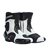 RaiFu レーシングブーツ バイク用ブーツ メンズ すべり止め オートバイ シューズ レザー ライディング バイク モトクロス オフロード モトブーツ ホワイト 9.5