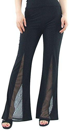 DFギャラリー パンツ ダンス衣装 フィットネスウェア シースルー ストレッチ EE5366 フリー ブラック