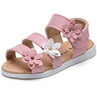 Gaorui Girls' Comfy Ankle Strap Flower Beach Sandals Soft Leather Flat Casual Shoes