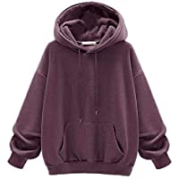 EnergyWD Women's with Pocket Leisure Long Sleeves Loose Fit Thicken Hoodie Coats
