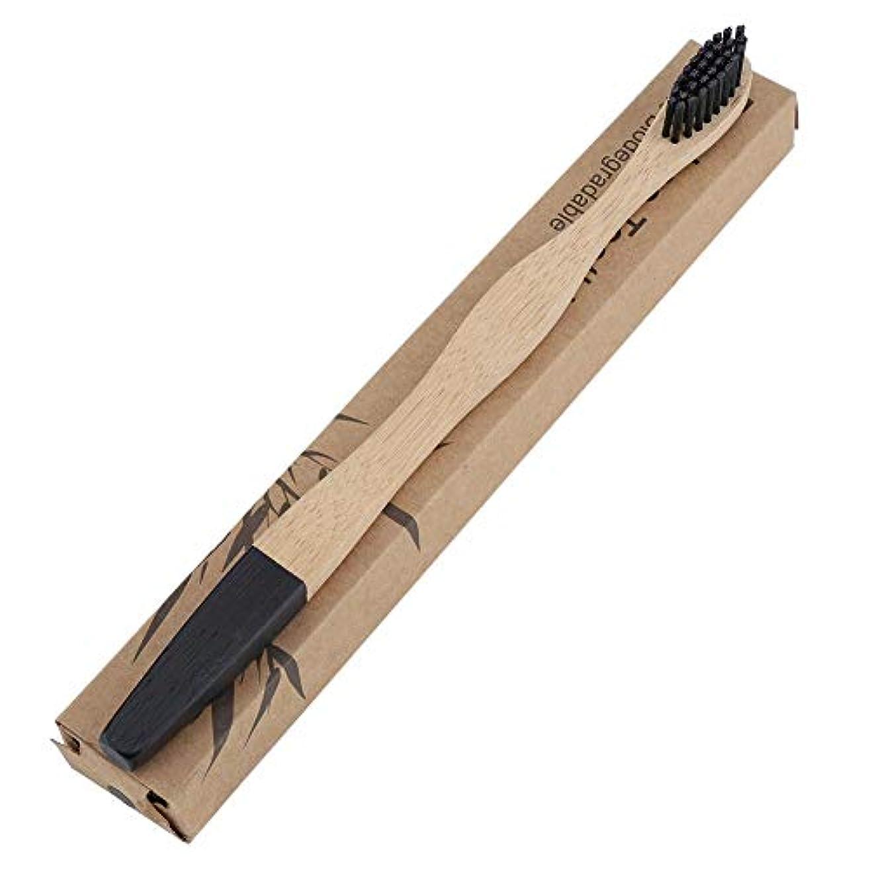 放牧する理想的には発信Salinr 歯ブラシ 6色 環境に優しいソフトヘアブラシ竹ハンドル歯ブラシ大人の口腔ケア ハンドル竹製 (ブラック)