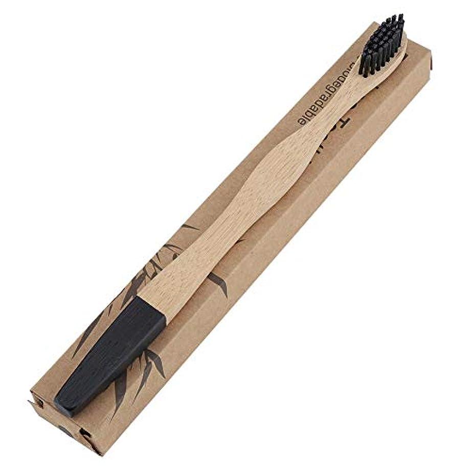 ベット一握り米国Salinr 歯ブラシ 6色 環境に優しいソフトヘアブラシ竹ハンドル歯ブラシ大人の口腔ケア ハンドル竹製 (ブラック)