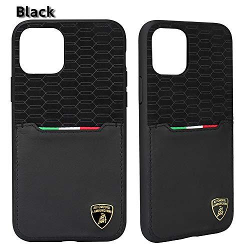 エアージェイ ランボルギーニ 公式ライセンス品 iPhone11 Pro専用 本革+スエード調 背面ケース LB-TPUPCIP11P-UR/D8- (ブラックBK)