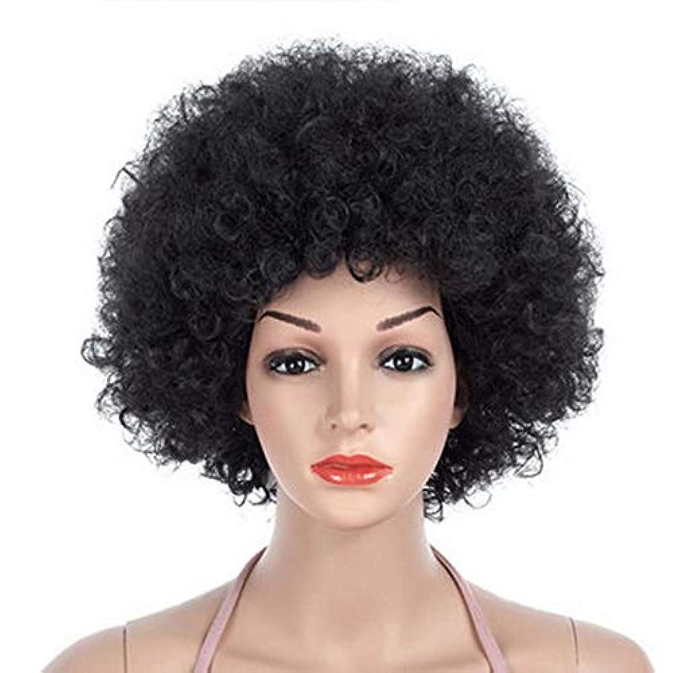 ユニセックスメンズウィメンズショートふわふわアフロかつら髪、高密度温度合成かつらコスプレヘアウィッグ、耐熱ファイバーヘアウィッグ、ブラックウィッグ11インチ