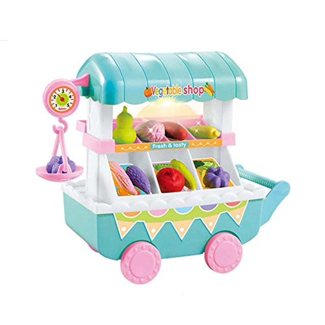 同情仕事に行くスモッグままごとおもちゃ ミニ果物と野菜の台車 キッチンおもちゃ 音楽 ライト 知育玩具 お誕生日 入園お祝い プレゼント 大人気 女の子 男の子 青