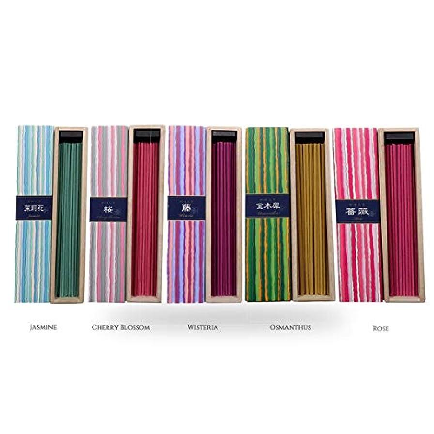 モンスターワイプ評価可能iTakara - 日本香コレクション | 日本の花束 40x5 | リラクゼーション、瞑想、祈り、読書、ヨガ用フローラルとアロマの木の香り | クリーンな燃焼、純粋な香り