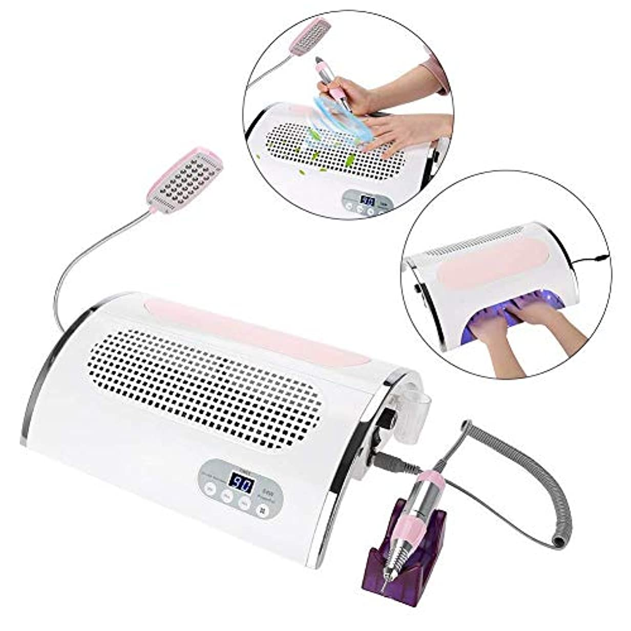 チーフ朝ごはんパートナー多機能電動ネイルドリルネイルファイルセットネイル掃除機54W UV 4 in 1アクリルジェルネイルファミリーサロンに適しています