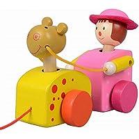 素敵な木製プッシュ&玩具はプル一緒にワゴン車ガールプル