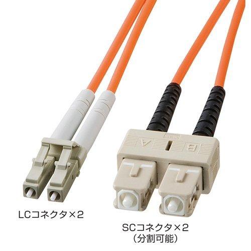 サンワサプライ HKB-LCSC6-02L 光ファイバケーブル(LC・SCコネクタ、2m)