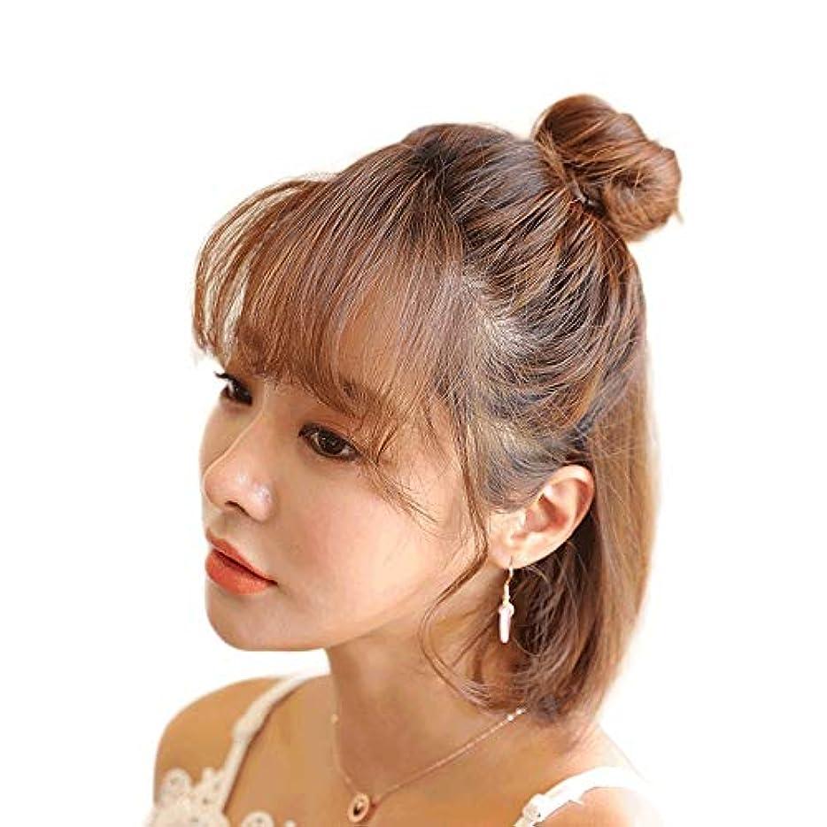 SRY-Wigファッション 女性の合成繊維の毛のお団子ドーナツリングブロンドの毛延長ファッションかつらブラウン