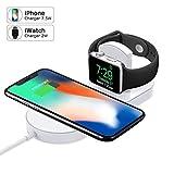 Miuly アップルウォッチ 充電器 Qi 急速 2in1 ワイヤレス充電器 Apple Watch充電器 iwatch iphone 7.5W ワイヤレスチャージャー 置くだけ充電 Apple watch series4/3/2/1
