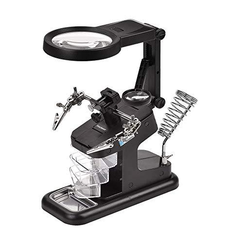 ゴシェール(Gocheer) スタンドルーペ 半田スタンド拡大鏡 溶接 精密作業用 虫眼鏡 3X / 4.5X LED付き