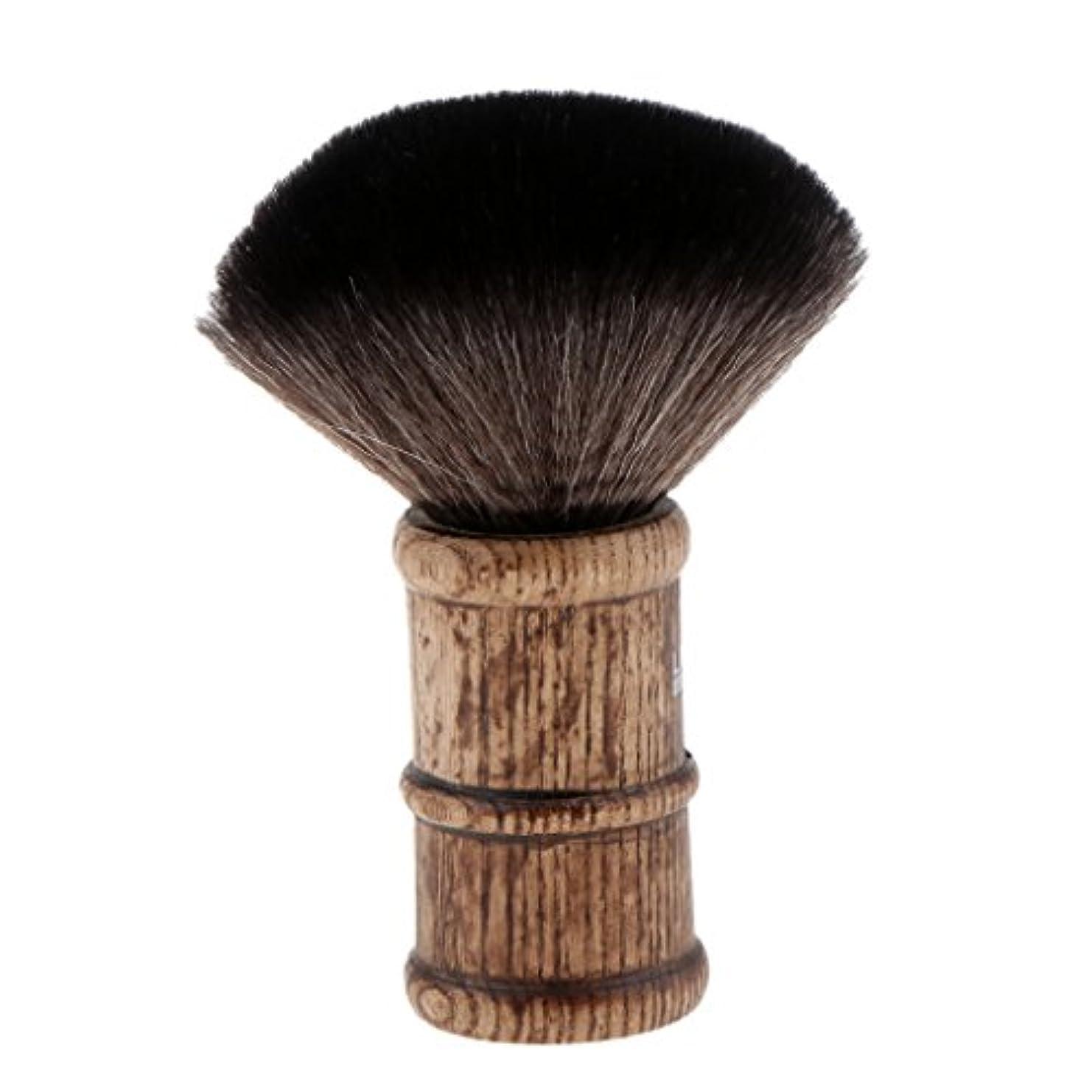 サイズ彼らの規則性ヘアカット ブラシ ネックダスターブラシ 散髪ブラシ 柔らかい フェイスブラシ 2色選べる - ブラック