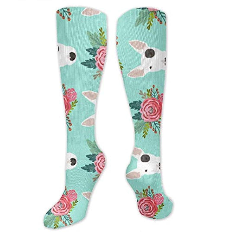 幻滅するインポート名義で靴下,ストッキング,野生のジョーカー,実際,秋の本質,冬必須,サマーウェア&RBXAA Bull Terrier Floral Flowers Bull Socks Women's Winter Cotton Long...
