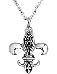 luckyjewelry Cremation Urnネックレスfor灰Fleur De LisペンダントホルダーMemorial記念品Funnel