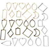 Open Bezel Pendants Charms Resin Molds for Jewelry Findings DIY Pressed Flower Frame Assorted Geometric Hollow Trays 30pcs