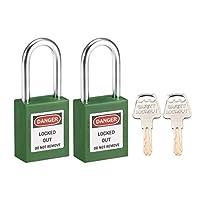 uxcellロックアウトタグアウトロック 38mmシャックルキー似ている安全パドロック グリーン 2個入り