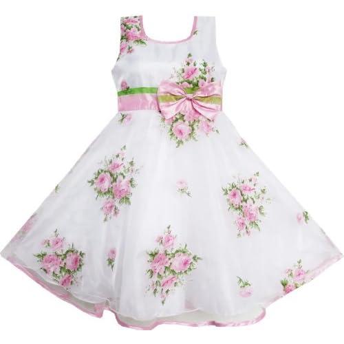 EN43 子供ドレス 子どもドレス フラワードレス のお嬢様ドレス 結婚式 発表会 ピンク 白 ユニーク ボウ 130cm