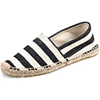 AUCDK Couple Fashion Retro Loafers Lazy Casual Round Toe Single Shoes Stripe Printed Work Shoes Unisex Boat Shoes