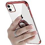 iPhone 11 ケースリング付き 透明 TPU マグネット式 車載ホルダー対応 全面保護 耐衝撃 軽量 薄型 携帯カバー スクラッチ防止 滑り防止 アイフォン11 ケース 6.1インチ専用 一体型(iPhone 11 ケース, レッド)
