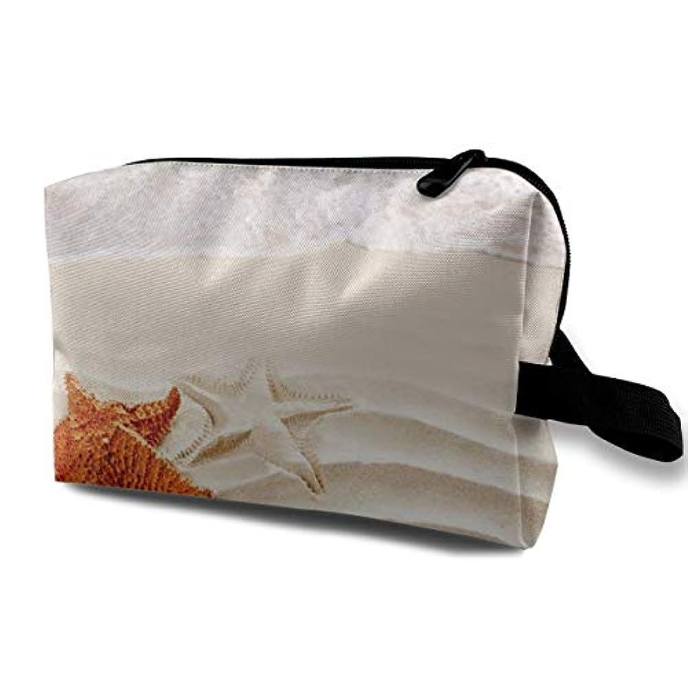 利点反対するシリンダーBeach Sand Starfish 収納ポーチ 化粧ポーチ 大容量 軽量 耐久性 ハンドル付持ち運び便利。入れ 自宅?出張?旅行?アウトドア撮影などに対応。メンズ レディース トラベルグッズ