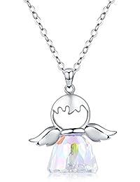 GINNOKOI(銀の恋) ネックレス クリスタル 天使 ペンダント レディース 水晶 キラキラ 首飾り プレゼント シルバー 925 チェーン 40CM