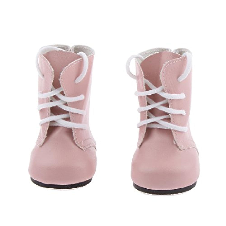 Lovoski 18インチ アメリカガール人形対応 ドール用 きれい レースアップ PUレザー製 マーティン ブーツ 靴 アクセサリー 5色選べる - ピンク
