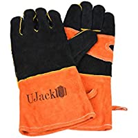 UJack(ユージャック) 耐熱 キャンプグローブ 手袋 牛革製 薪ストーブ ダッチオーブン等に