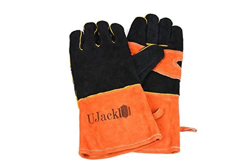 おもちゃ囲む手首UJack(ユージャック) 耐熱 キャンプグローブ 手袋 牛革製 薪ストーブ ダッチオーブン等に