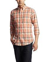 Polyester Cotton Faded Check 7/10 Sleeve Buttondown Shirt 3216-166-0738: Orange