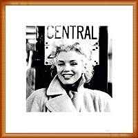 ポスター フォトグラフ マリリン モンロー グランドセントラルステーション 額装品 ウッドベーシックフレーム(オレンジ)