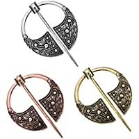 D DOLITY 3 Pieces/Pack Viking Norse Brooch Cloth Fasteners Cloak Shawl Scarf Lapel Pin Lot Amuler Charms Collar Badge