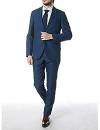 (ラルディーニ) LARDINI ウール100% ブートニエール 無地 段返り3ツ釦 ノータック スーツ [【LDRP48488】] ブルー / 46 [並行輸入品]