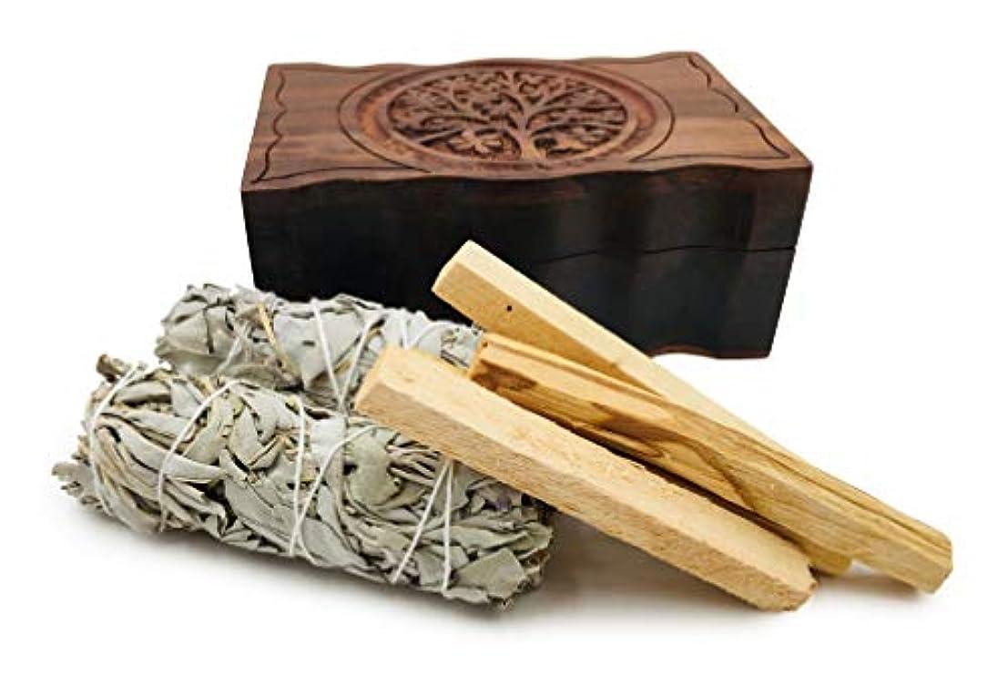 いらいらするメトロポリタンけがをするオルタナティブイマジネーション彫刻ツリーオブライフ木製ボックス、カリフォルニアホワイトセージ2個とパロサント香4個付き
