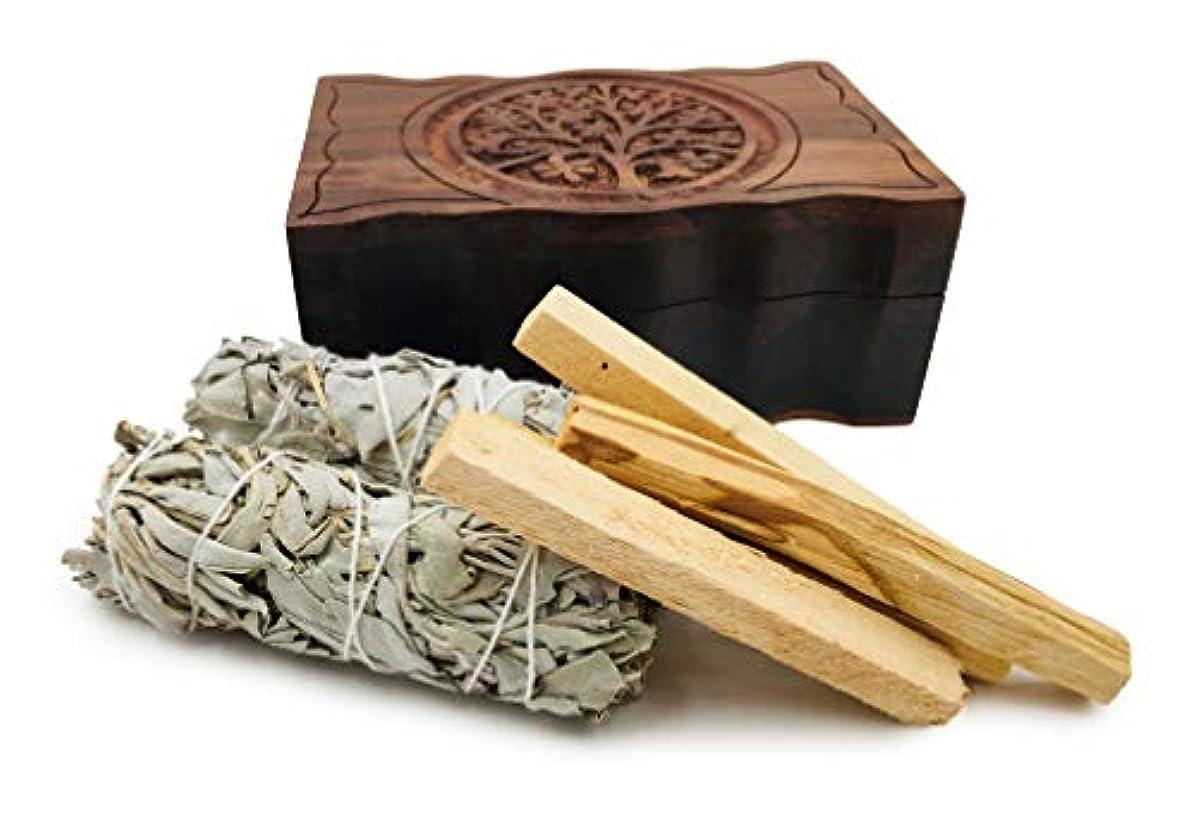 オルタナティブイマジネーション彫刻ツリーオブライフ木製ボックス、カリフォルニアホワイトセージ2個とパロサント香4個付き