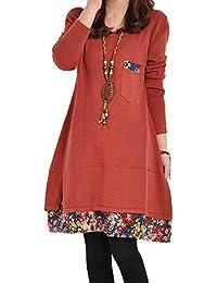 [ニーマンバイ] 小花裾 重ね着風 Aライン 長袖 チュニック ワンピース レディース M~3XL