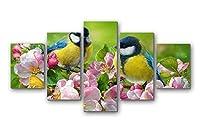 2つのおっぱい鳥ピンクりんごの花 - アートパネル 壁掛け絵画 インテリアアート キャンバス 現代 壁飾り 部屋飾り 壁ポスター 絵画 玄関 おしゃれ モダン 壁掛け 雑貨 プレゼント ギフト アートフレーム おしゃれ 5枚セット (30x40cmx2,30x60cmx2,30x80cmx1)