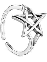SHEGRACE 星リング 五芒星 指輪 アンティーク バンドリング シルバー925 純銀 アクセサリー 16号 調節可能