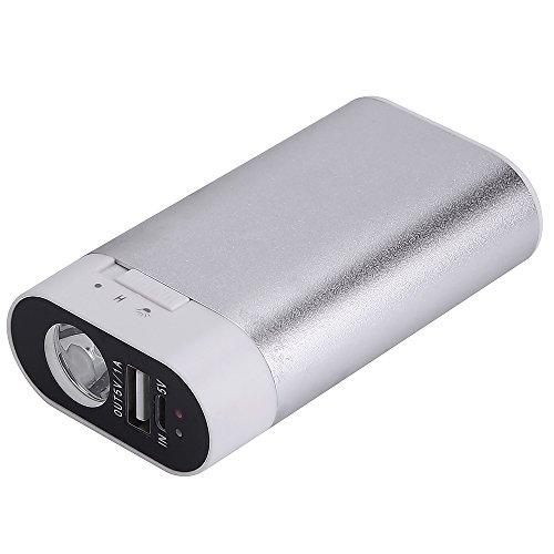 Alfway 充電式カイロ/モバイル電源 電気カイロ 5200mah コンパクト 充電カイロ/モバイルバッテリー LED懐中電灯付き 電子カイロ iPhone/andriodに適用 (シルバー)