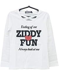 ZIDDY(ジディー) 天竺センタークロス長袖Tシャツ (140-F:160)★1235-96051/ホワイト01