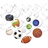 30-Count Swirl Decorations - Ball Party Decorations Sports-Themed Party Streamers Football Basketball Baseball-Style Hanging Decor 10 Assorted Designs - Hanging Length: 34.25 to 36.25 Inches [並行輸入品]