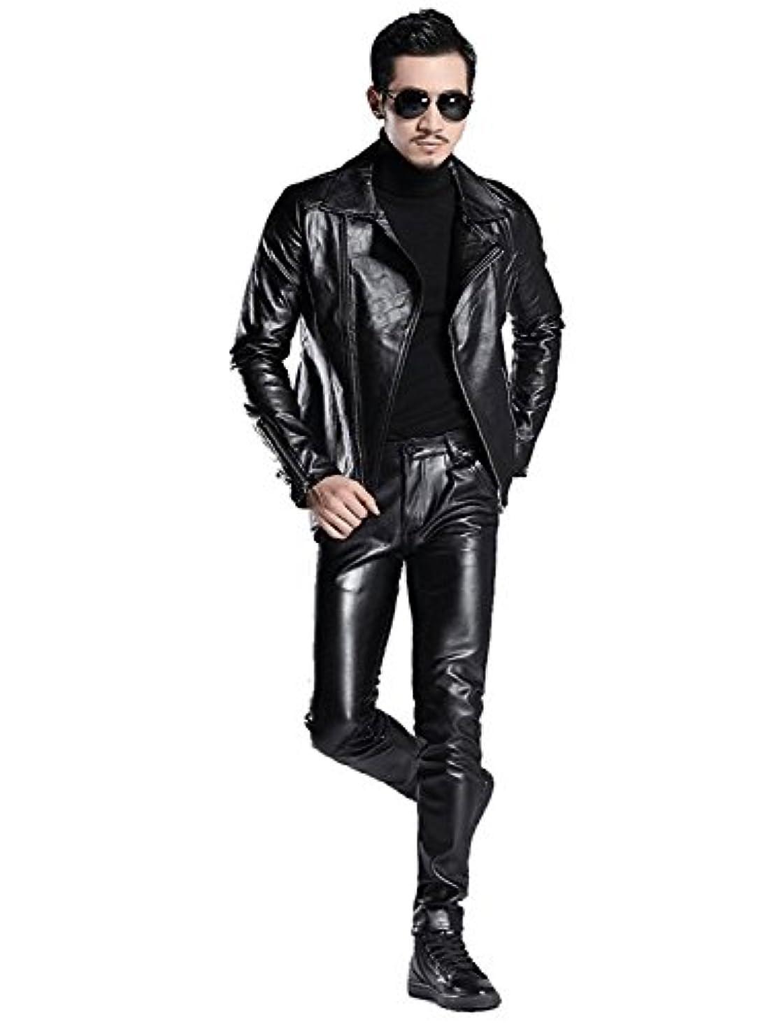 頭痛パニック破壊的レザーパンツ メンズ  バイク用 バイク パンツ ライダース フェイクレザー ロックファッション サイズ:29